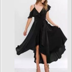 Anthropologie black ruffle satin wrap dress